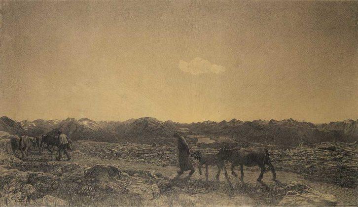 Divisionismo - Giovanni Segantini, La Natura, disegno di presentazione